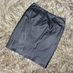 The Limited Black Leather Midi Pencil Skirt